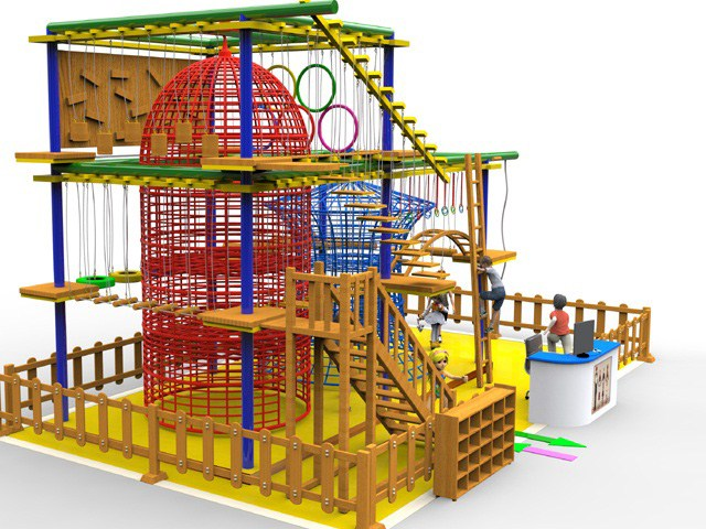 Wooden Indoor Obstacle Ropes Course Play Frame