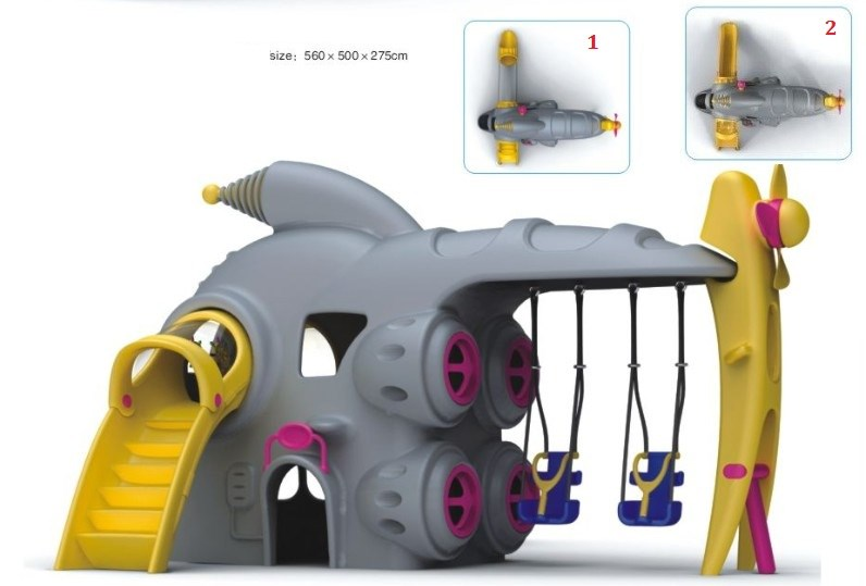 Helicopter Style Playground Swing Slide Play Station Set