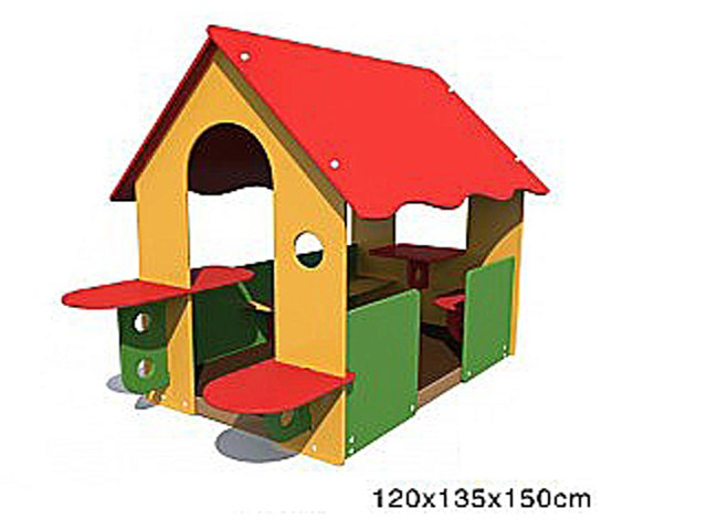 HDPE small house in backyard with seats