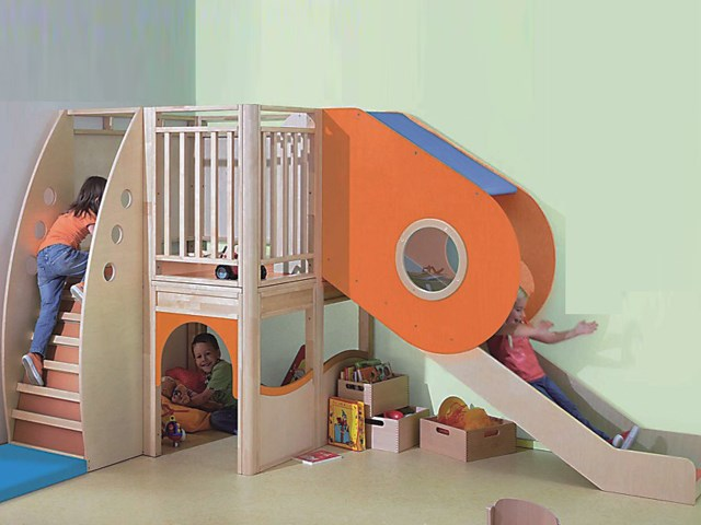 Indoor Interior Corner Slide Play Room For Kids Early Learning Center