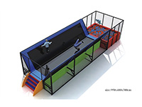 Small Trampoline with Wall, Stair & Foam Pit