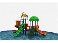 Kids Water Pool Playground Slide with Water Fountain Vat
